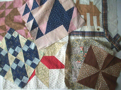 7 vintage quilt blocks some hand sewn early fabrics