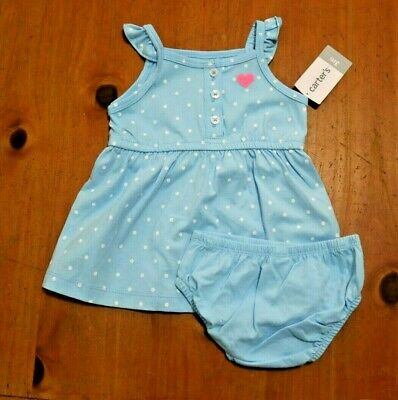 New NWT Carters Baby Infant Girls 2 piece dress set yellow blue polka dot whale