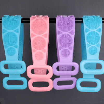 Creative Silicone Back Scrubber Bath Shower Strap Spa Skin Brush Dual Sided