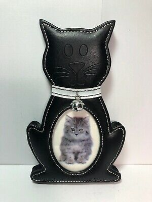 Black Cat Picture Frame With bell. Easel Stand.