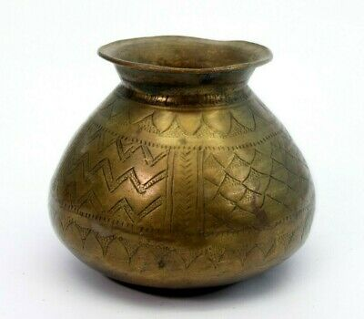 Antique Indian Beautiful Hand Carved Usable Water Brass Pot. G56-94 UK