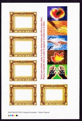 GOLD LEAF FRAME = Picture Postage = BOOKLET OF 5 + 5 STICKERS Canada 2000 #1853a