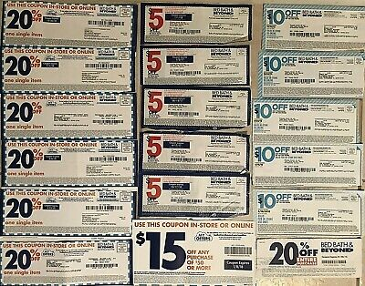 18 Bed Bath & Beyond BBB Coupons Expired $10 off $30 $5/ $15 $15/ $50 20% Entire