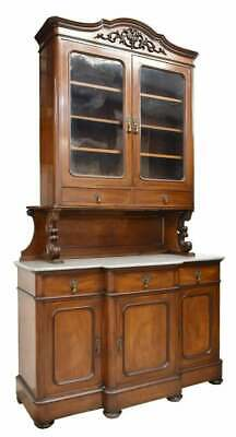 Antique Sideboard, French Louis Philippe, Mahogany, Marble Top, 1800s, Gorgeous!