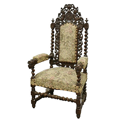 Antique Chair, Arm, Fauteuil, French Henri II Style Oak, 1800s, Gorgeous!