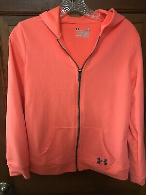 Girl's Under ArmourNWOT Full Zip Hoodie With Sleeve LOGO Size Youth Large