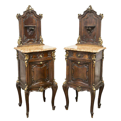 Bedside Cabinets, Louis XV Style, Walnut, Marble Top, Gorgeous Pair, Vintage!!