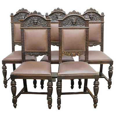 Antique Chairs, Dining, French Henri II Style, Carved Oak, Lot of Five, 1800's!