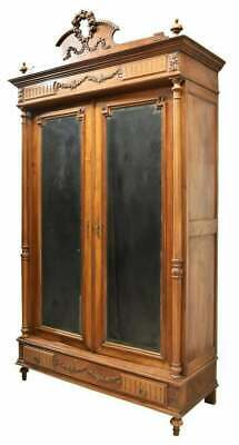 Antique French Armoire, Louis XVI Style Walnut, Mirrored, 1800's, Handsome!!