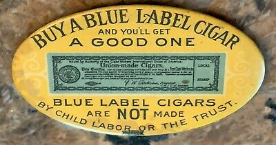 Antique Blue Label Union-Made Cigar Makers Advertising Celluloid Pocket Mirror
