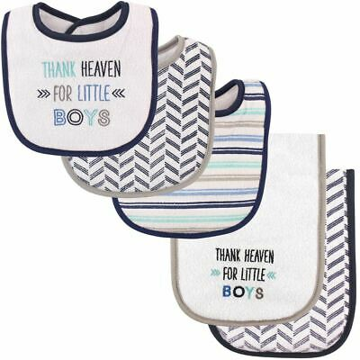 Luvable Friends Boy Bib and Burp Cloths, 5-Piece Set, Thank Heaven for Boys