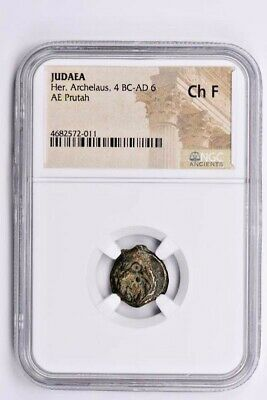 Judaea, Her. Archelaus AE Prutah 4 BC-AD 6 NGC Ch F Witter Coin
