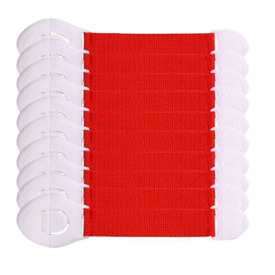10 Set Baby Proofing Cabinet Lock Adhesive Kids Protection Straps Latch Red
