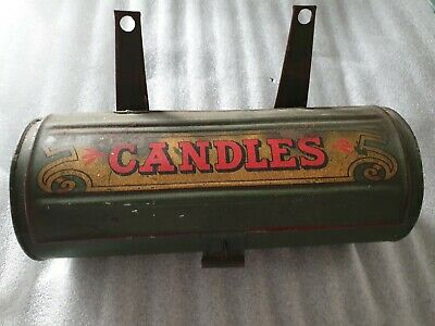 Antique 1800 's Tin Candle Box Keeper