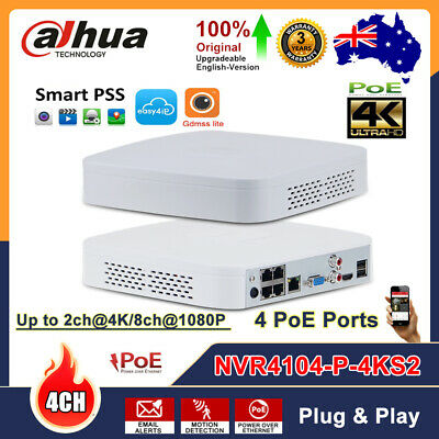 Dahua 4K 4CH 4 POE NVR4104-P-4KS2 8MP H.265 Up 6TB CCTV Network Video Recorder