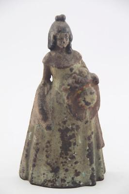 Tall Antique Cast Iron Victorian Woman Lady With Hat Doorstop ~Old Crusty Paint