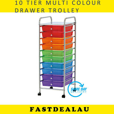 Multi Color Plastic Storage 10 Tier Metal Trolley Shelf Chest Slide-Out Drawers