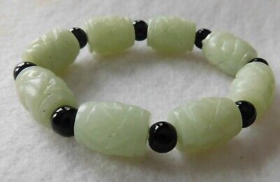 Chinese Carved Jade Jadeite Celadon ? Barrel Bead Stone Bracelet Stretch Black