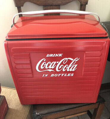 NICE VTG COKE 1950's DRINK COCA COLA IN BOTTLES METAL PICNIC COOLER LOCAL PICKUP