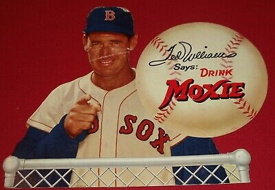 Ted Williams Moxie Soda 50's Counter Cardboard Ad Display Red Sox Original RARE!