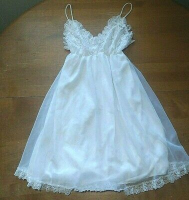 Vintage Tosca Babydoll Nightie Lingerie Small White Chiffon Lace  #14