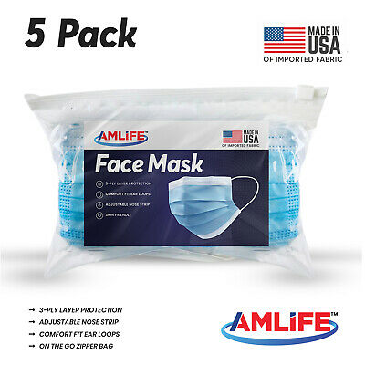 Made in USA 5 Pack Disposable Face Mask 3 Ply Dental Surgical Medical Masks