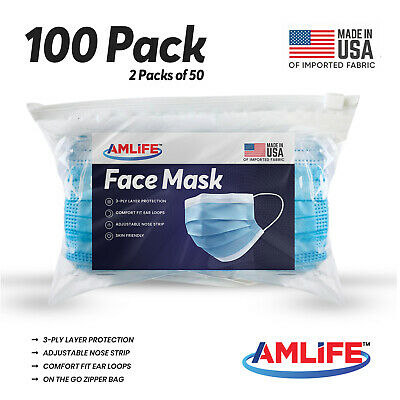 100 Pack Disposable Face Mask Surgical Dental Medical Blue 3-Ply Mouth Nose