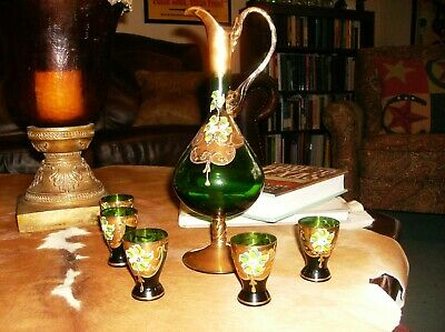 Victorian Bohemian Green & Gold hand painted Decanter w/ Cordial glass set.