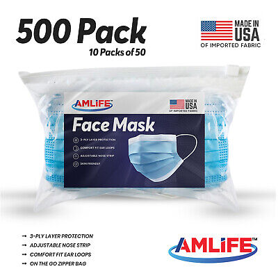 Made in USA 500 Pack Disposable Face Mask 3 Ply Dental Surgical Medical Masks