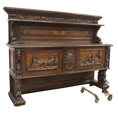 Antique Sideboard Display, Renaissance Revival Figural Carved, Early 1900's!