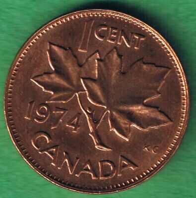 1974 Canada Canadian Elizabeth II One Cent Penny Coin Circulated AU