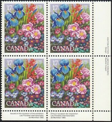 = GARDEN - FLOWERS - Iris, Aster - Canada 1980 MNH-VF #855 LR Block of 4, q01