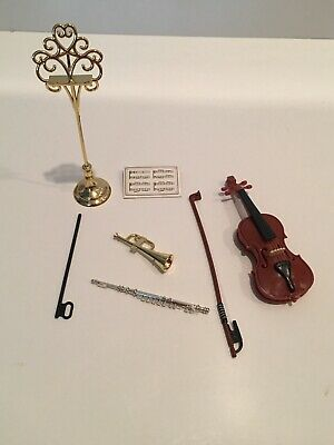 BARBIE ACCESSORIES MUSICAL ORCHESTRA VIOLIN BOW TRUMPET FLUTE AWESOME DETAIL NEW