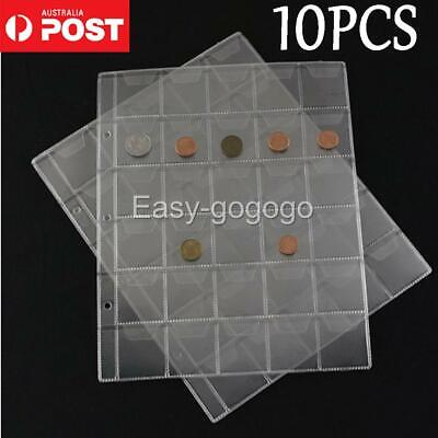 10pcs 30 Pockets Coin Holders Folder Pages Sheets For Collection Album Storage Q