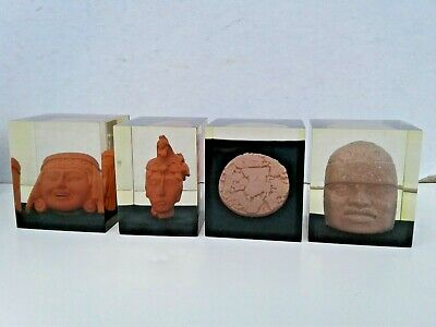 Set of 4 Vintage Lucite Paperweight Olmec Palenque Terracotta Head Tribal Mayan