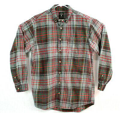 Red Head Brand Co Men's Size Large Tall Shirt Gray & Red Heavy Plaid Flannel