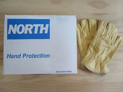 Lot of 12 Pairs North Brand Cowhide Leather Work Gloves - Size XL - NOS