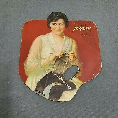 Moxie Soda Vintage Cardboard Hand Fan Circa 1920 Over There WWI