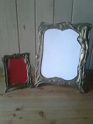 Art Nouveau Brass Dressing Table Mirror With Matching Photograph Frame