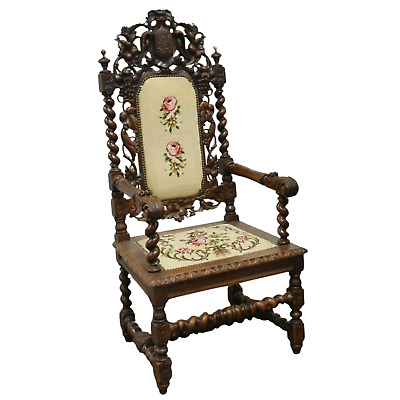 Antique Armchair, French Henri II Style Carved Oak, 19th C., 1800's, Majestic!