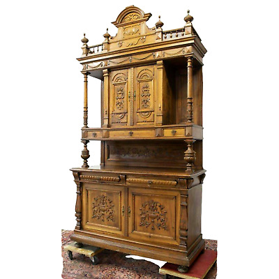 Antique Sideboard, Monumental French Walnut Carved, 1800s, Stunning!