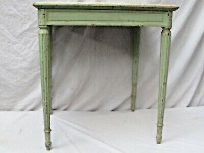 Antique French Table with Marble Top Painted Green Country Style