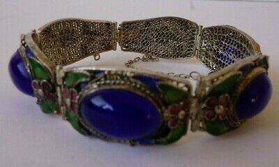 Antique Chinese Export Enamel Filigree Silver Bracelet Glass Stones