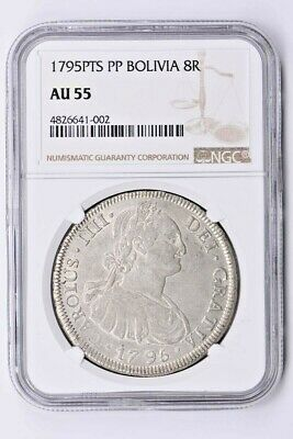 1795PTS PP Bolivia 8 Reales NGC AU 55 Witter Coin