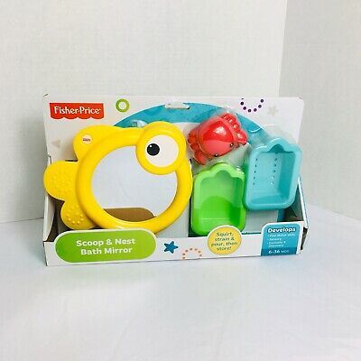Fisher-Price Scoop & Nest Bath Mirror 6M+ Baby Infant Water Toys