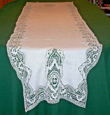 """INCREDIBLE ANTIQUE NEEDLE LACE LINEN RUNNER, 90"""", HANDMADE MUSEUM QUALITY, c1910"""