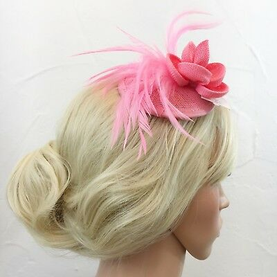 Small Clip Pink  Feather Fascinator Hat Flower Weddings Ascot Races