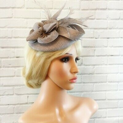 Ladies Silver Grey Fascinator Sinamay Flower Feathers Wedding Races Ascot