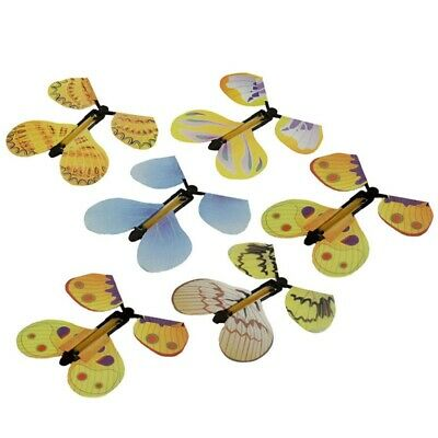 6x Magic Flying Wind Up Butterfly Toy Trick Prop For Card Prank Birthday Wedding