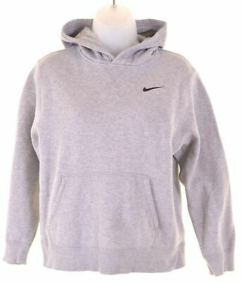 NIKE Girls Hoodie Jumper 12-13 Years Large Grey Cotton  BQ16